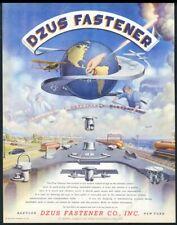 1946 streamlined future train bus art Dzus Fasteners vintage print ad