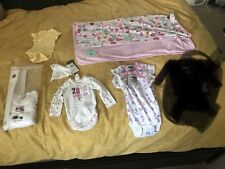 Lot Of 1-2 Months Baby Girl Brand New With Tags Clothes And A Blanket
