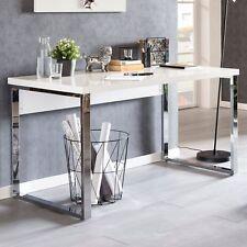 FineBuy Schreibtisch 140x70x76 cm Weiß Hochglanz Bürotisch Computertisch Tisch