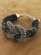 Black and Grey / Silver Seed Beads Nautical Knot Bracelet Lagenlook Jewellery