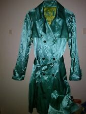 HTF/OOP Mycra Pac One Cotton/Poly/Metal Crinkle Satin Trench Coat-M/L-Aqua-EUC