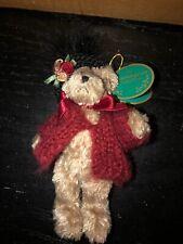 Bearington Bears Mitsy Plush Bear Ornament W/Black Hat & Red Sweater MWT