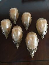 Art Deco Antique 30s Markel  Sconces Wall Fixtures. Copper Glass Slip Shades