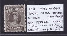 Quennsland: 10/ Brown Thin Paper Sg 155 Mint Part Gum.