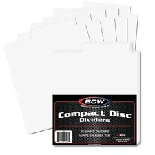 100 BCW White Plastic Tabbed Compact Disc CD / DVD / Blu Ray Dividers
