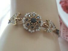 Antique Vintage Jewelry Sterling Silver Bracelet with Gold Accents and Sapphires