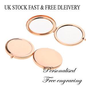 Personalised Rose Gold Round Circle Shape Compact Mirror Bridesmaid Wedding UK