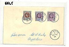 EE65 1954 Leeward Islands St Kitts FDC x3 Cover {samwells-covers}PTS