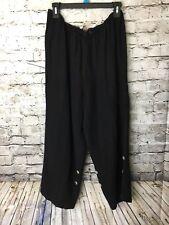Soft Surroundings Petite Large Linen Blend Lagenlook Pants Black Tab Cuff Crop