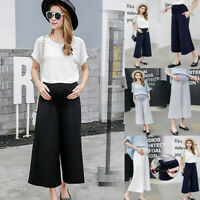 Women Maternity High Waist Loose Pants Pregnant Solid Wide Leg Straight Trousers