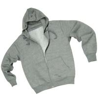Men's Plain Grey Zip Hoodie Sweatshirt Hooded Top - LM1582