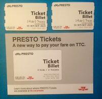 2019 Presto 2 Tickets 1-Ride & 2-Rides Used + Card Toronto TTC Subway Streetcar