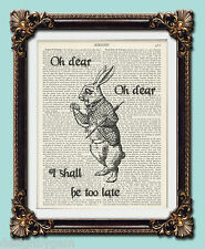 The late white rabbit print 1920's encyclopaedic dictionary art print Alice
