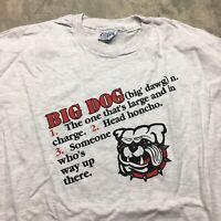 BIG DOG 80s 90s VTG T Shirt Single Stitch BOSS Humor Made in USA XXL Funny