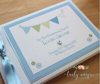 PINK or BLUE BUNTING Personalised Christening/Baptism Guest Book Photo Album