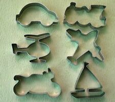Sailing Boat Train Motorcycle Helicopter Car Baking Metal Cookie Cutter Set