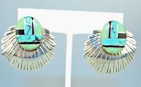 SIGNED SOUTHWESTERN STERLING SILVER PIERCED EARRINGS W/ INLAID TURQUOISE & ONYX