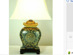 "Oriental Furniture 19"" Black & Brown Medallions Porcelain Lamp"