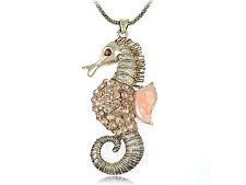 Creature Seahorse Necklace Party Pendants Topaz Vintage Diamante Rhinestone Sea