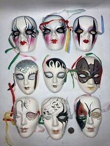 Lot #9 - Vtg Masquerade Face Masks, New Orleans/ Mardi Gras, Art Deco Wall Decor