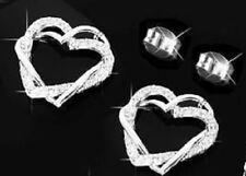 Pendientes corazones mujer con oro blanco 18k gf con caja para regalo