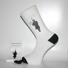 White Socks With a Silhouette Bagpiper, Lovely Birthday or Christmas Gift