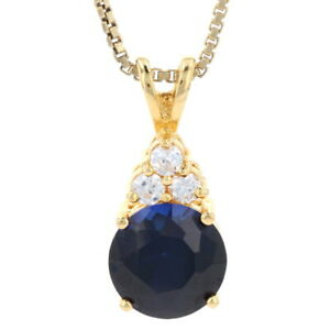 "Silver Synthetic Sapphire & Cubic Zirconia Necklace 18"" 925 Gold Plate 3.70ctw"