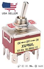 HEAVY DUTY 3PDT ON-OFF-ON TOGGLE SWITCH 20A 125V, 15A 250V SPADE TERMINALS (33A)
