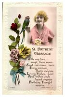Antique RPPC real photograph postcard card A Birthday Message young lady parrot