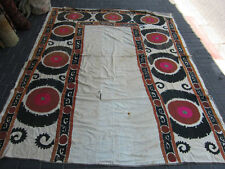 ANTIQUE UZBEK SILK HAND MADE- EMBROIDERED SUZANI 223x175-cm / 87.7x68.8-inches