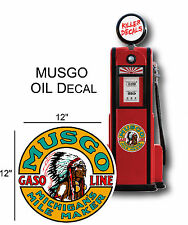 """12"""" 1930-40 MUSGO GASOLINE DECAL FOR OIL CAN / GAS PUMP / LUBSTER"""