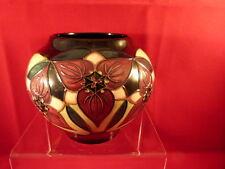 Moorcroft Vase England Pottery Trillium Flower  c. 2000 Red and Blue