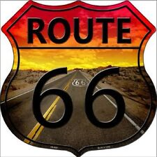 ROUTE 66 BEAUTIFUL SUNSET ALUMINUM METAL NOVELTY HIGHWAY SHIELD SIGN