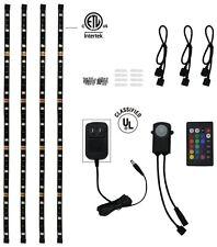 4Pcs LED Kitchen Under Cabinet Light Strip RGB SMD 5050 Kit IR Remote 12V Power