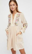 NEW Free People Mia Embroidered Colorful Floral Ivory Velvet Boho Tunic Dress XS