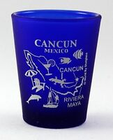 CANCUN MEXICO COBALT BLUE FROSTED SHOT GLASS