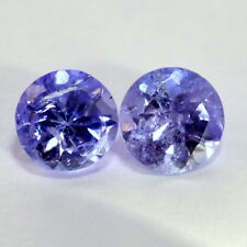 Certified Natural Tanzanite Round Cut Pair 5 mm 1.10 Cts Lustrous Blue Gemstones