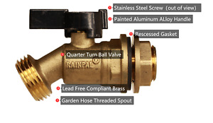RAINPAL RBS005 Bucket/Container/Rain Barrel Brass Spigot/Ball Valve LF compliant