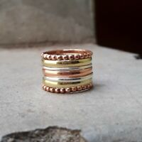 Set of 7 Ultra Thin Hammered Twist Sterling Silver Stacking Rings, Dainty Ring,
