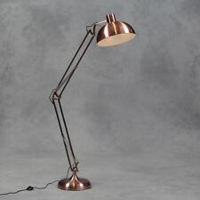 GRANDE stile vintage in rame da tavolo lampada da terra con tessuto nero flex 190cm ad alta