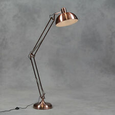 Large Vintage Copper Desk Style Floor Lamp With Black Fabric Flex 190cm High