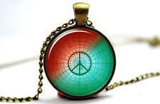 Peace Symbol - Vintage Antique Bronze Tone Photo Glass Dome Necklace Pendant