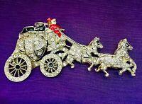 Western Stagecoach, Rhinestones, Enamel, Pot Metal, Very Old, Brooch Pin Figural