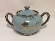 SADLER - England Silver on Blue Luster Dragon & Lanterns 1866 Sugar Bowl w/ Lid