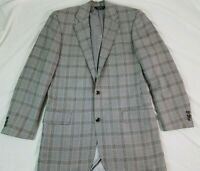 SOUTHWICK Mens Sport Coat Blazer GLENPLAID 40L Gray Blue Check USA 100% Wool
