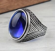 Turkish jewelry 925 Sterling Silver blue sapphire stone Mens ring ALL SİZE us 0
