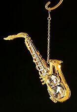 Saxophone, 24k Gold Plated Austrian Crystal Ornament