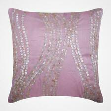 """Pink Decorative 26""""x26"""" Euro Pillow Sham Silk, Mother Of Pearl - Angelic Charm"""
