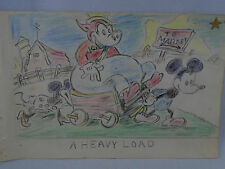 Color Pencil Painting Mickey Minnie Mouse Pulling Pig in Wagon to Market 1940's