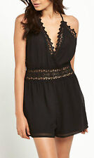 LIPSY LACE DETAIL BLACK PLAYSUIT SIZE 10